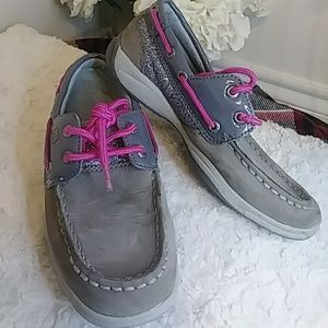 SPERRY BOAT SHOES GRAY GLITTER/ HOT PINK